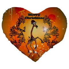 Funny, Cute Christmas Giraffe Large 19  Premium Heart Shape Cushions by FantasyWorld7