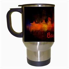 Barcelona City Dark Watercolor Skyline Travel Mugs (white) by hqphoto