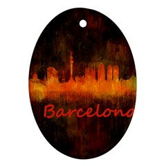Barcelona City Dark Watercolor Skyline Oval Ornament (two Sides) by hqphoto