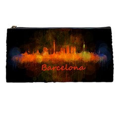 Barcelona City Dark Watercolor Skyline Pencil Cases by hqphoto