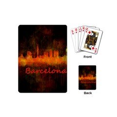 Barcelona City Dark Watercolor Skyline Playing Cards (mini)