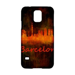 Barcelona City Dark Watercolor Skyline Samsung Galaxy S5 Hardshell Case