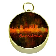 Barcelona City Dark Watercolor Skyline Gold Compasses by hqphoto