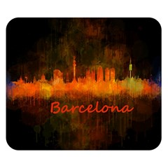 Barcelona City Dark Watercolor Skyline Double Sided Flano Blanket (small)