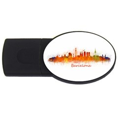 Barcelona City Art Usb Flash Drive Oval (2 Gb)  by hqphoto