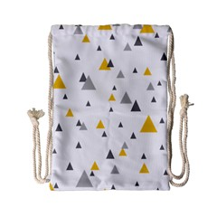Pastel Random Triangles Modern Pattern Drawstring Bag (small) by Dushan