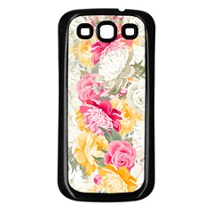 Colorful Floral Collage Samsung Galaxy S3 Back Case (black) by Dushan