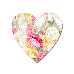 Colorful Floral Collage Heart Magnet by Dushan