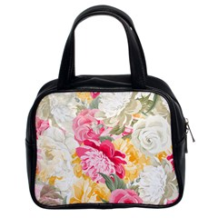 Colorful Floral Collage Classic Handbags (2 Sides) by Dushan