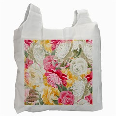 Colorful Floral Collage Recycle Bag (one Side) by Dushan