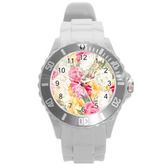 Colorful Floral Collage Round Plastic Sport Watch (l) by Dushan