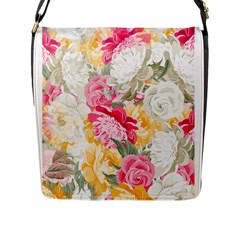 Colorful Floral Collage Flap Messenger Bag (l)  by Dushan