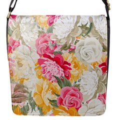 Colorful Floral Collage Flap Messenger Bag (s) by Dushan