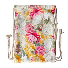 Colorful Floral Collage Drawstring Bag (large) by Dushan