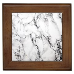 White Marble Stone Print Framed Tiles