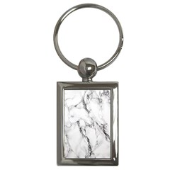 White Marble Stone Print Key Chains (rectangle)  by Dushan