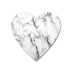White Marble Stone Print Heart Magnet by Dushan