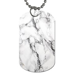White Marble Stone Print Dog Tag (two Sides) by Dushan