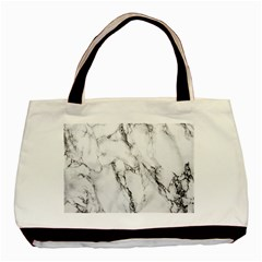 White Marble Stone Print Basic Tote Bag (two Sides)
