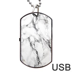 White Marble Stone Print Dog Tag Usb Flash (one Side) by Dushan