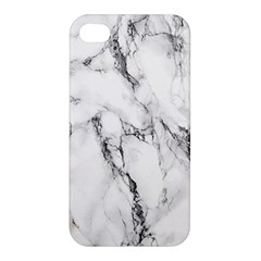 White Marble Stone Print Apple Iphone 4/4s Premium Hardshell Case by Dushan