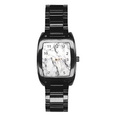 White Marble Stone Print Stainless Steel Barrel Watch