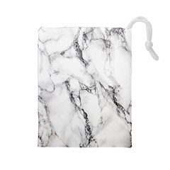 White Marble Stone Print Drawstring Pouches (large)  by Dushan