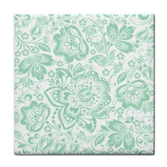 Mint Green And White Baroque Floral Pattern Tile Coasters by Dushan