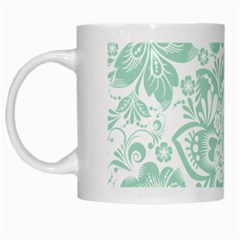 Mint Green And White Baroque Floral Pattern White Mugs by Dushan