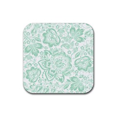 Mint Green And White Baroque Floral Pattern Rubber Square Coaster (4 Pack)  by Dushan