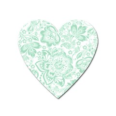Mint Green And White Baroque Floral Pattern Heart Magnet by Dushan