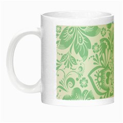 Mint Green And White Baroque Floral Pattern Night Luminous Mugs by Dushan