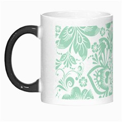 Mint Green And White Baroque Floral Pattern Morph Mugs by Dushan