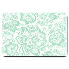 Mint Green And White Baroque Floral Pattern Large Doormat  by Dushan