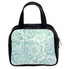 Mint Green And White Baroque Floral Pattern Classic Handbags (2 Sides) by Dushan