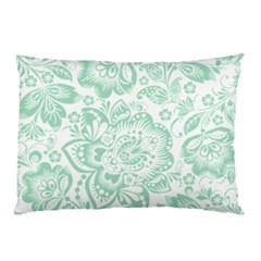 Mint Green And White Baroque Floral Pattern Pillow Cases by Dushan