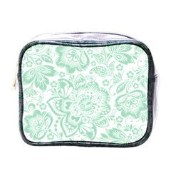 Mint Green And White Baroque Floral Pattern Mini Toiletries Bags by Dushan