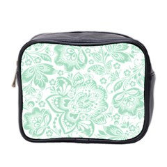 Mint Green And White Baroque Floral Pattern Mini Toiletries Bag 2 Side by Dushan