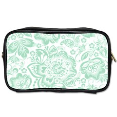 Mint Green And White Baroque Floral Pattern Toiletries Bags by Dushan