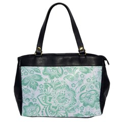 Mint Green And White Baroque Floral Pattern Office Handbags by Dushan