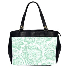 Mint Green And White Baroque Floral Pattern Office Handbags (2 Sides)  by Dushan