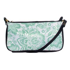 Mint Green And White Baroque Floral Pattern Shoulder Clutch Bags by Dushan