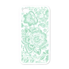 Mint Green And White Baroque Floral Pattern Apple Iphone 4 Case (white) by Dushan