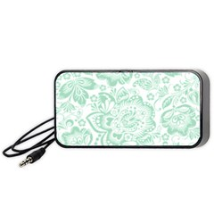 Mint Green And White Baroque Floral Pattern Portable Speaker (black)  by Dushan