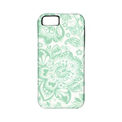 Mint Green And White Baroque Floral Pattern Apple Iphone 5 Classic Hardshell Case (pc+silicone) by Dushan