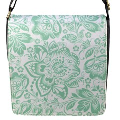 Mint Green And White Baroque Floral Pattern Flap Messenger Bag (s) by Dushan