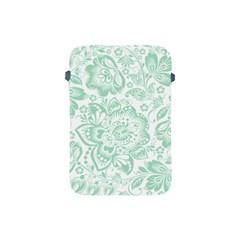 Mint Green And White Baroque Floral Pattern Apple Ipad Mini Protective Soft Cases by Dushan
