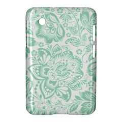 Mint Green And White Baroque Floral Pattern Samsung Galaxy Tab 2 (7 ) P3100 Hardshell Case  by Dushan