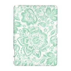 Mint Green And White Baroque Floral Pattern Samsung Galaxy Note 10 1 (p600) Hardshell Case by Dushan