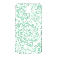 Mint Green And White Baroque Floral Pattern Samsung Galaxy Note 3 N9005 Hardshell Back Case by Dushan